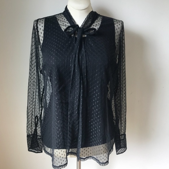 82bf8592351 Women s Lane Bryant Polka Dot Sheer Neck Tie Top